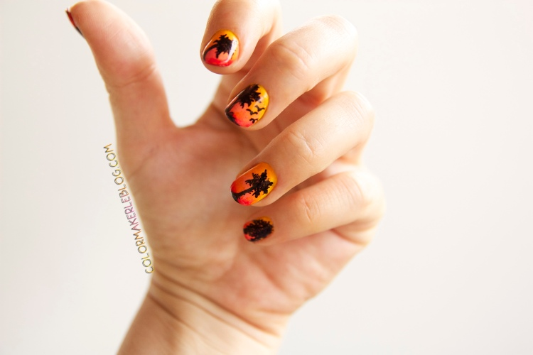 palm trees sunset nails
