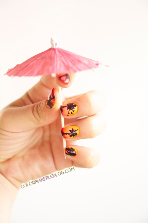 sunset palm trees nails