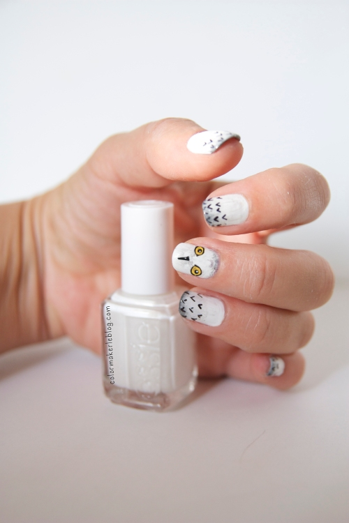 nail art Harfang des neiges